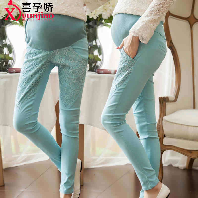 f475a842975b2 Maternity pants spring thin section trousers care of pregnant women belly  pants feet outer wear leggings korean version of the bud silk pencil pants  ...