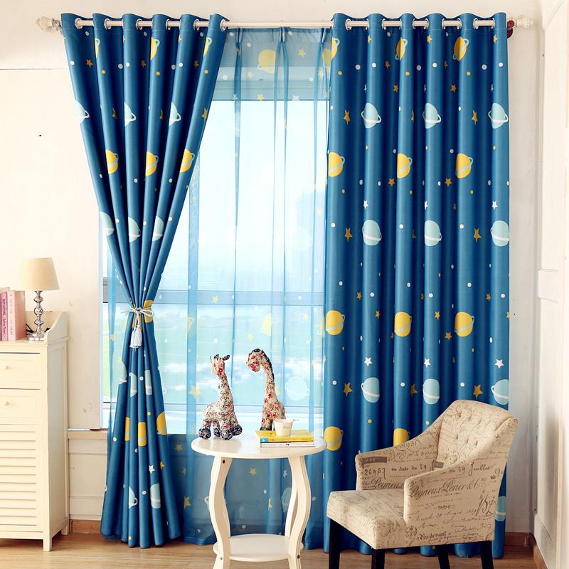Buy Moistening woven green cartoon children's bedroom curtains ...