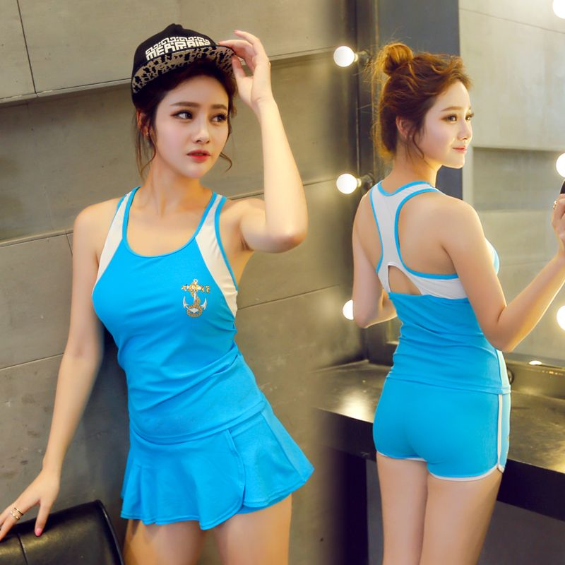 5d2554966126a Buy Ms. swimsuit split skirt style boxer small chest gather conservative  student was thin big yards spa sport swimsuit in Cheap Price on m.alibaba .com