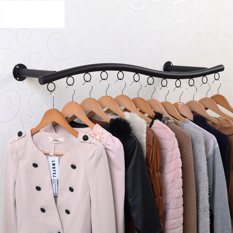 Buy New house wrought iron clothes rack clothing store shelf side ...