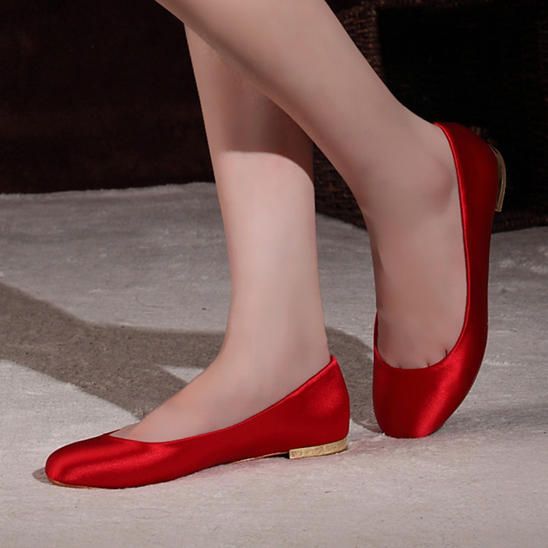 Buy Champagne Red Satin Wedding Shoes Bridal Shoes Thick With The