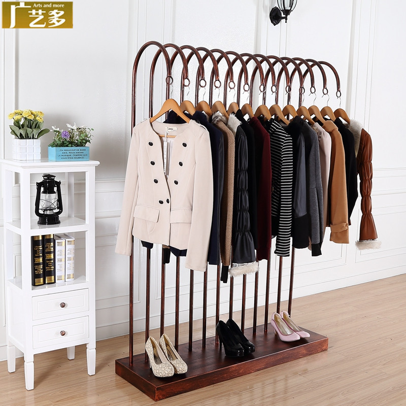 New Wrought Iron Clothing Rack Display Floor Racks For Hanging Clothes In The Island Side Of