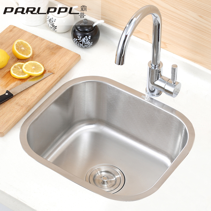Pa universal kitchen sink single vegetables basin small apartment 304  stainless steel sink single bowl combo