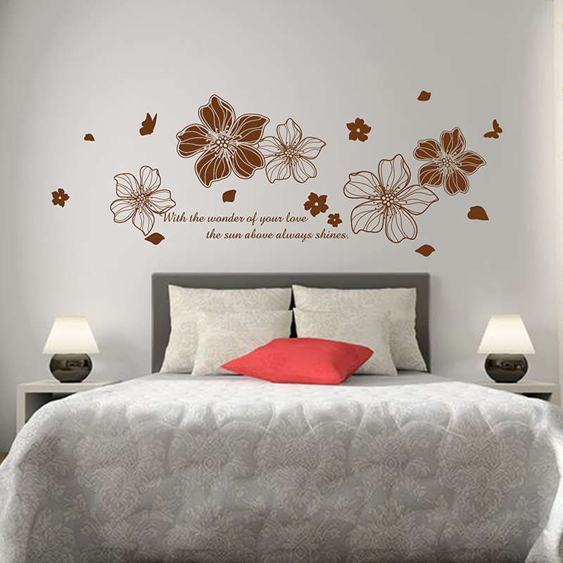 Paper flower flower removable wall stickers bedroom bedside cozy romantic  bedroom room decor creative personality klimts adhesive