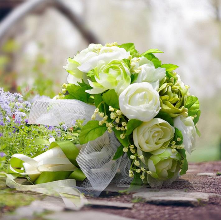Buy Paragraph 25 green white camellia flower korean bride holding ...