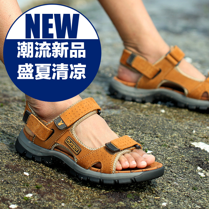 7fcebc51a0fd38 Playboy sandals male summer thick crust leather sandals korean version of  casual men s elevator shoes breathable slip