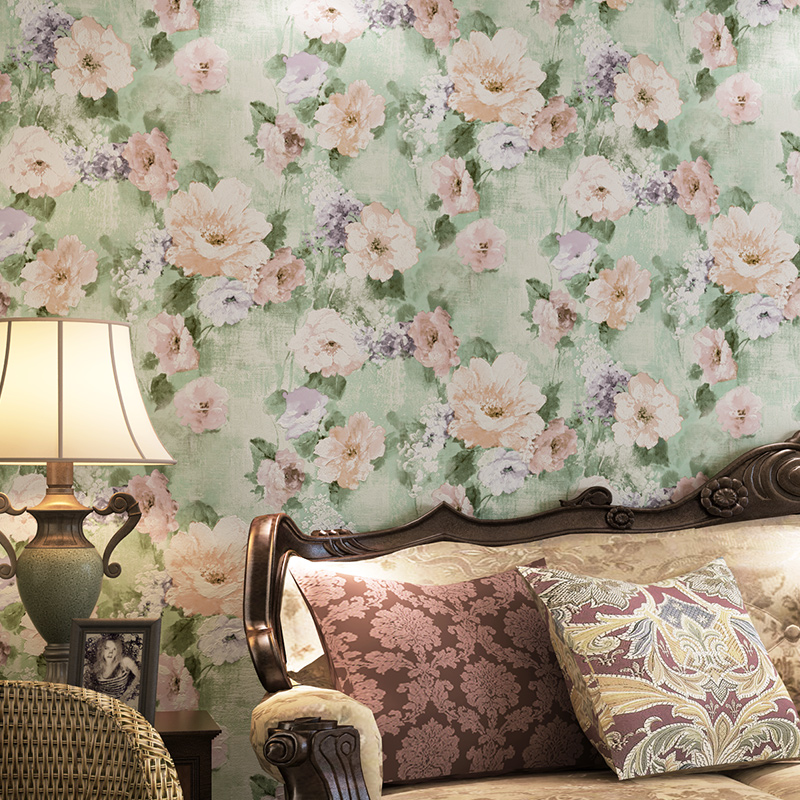 Buy Pune American Country Painting Style Retro Light Green Wallpaper Living Room Bedroom Garden Flower Wallpaper Backdrop In Cheap Price On Alibaba Com