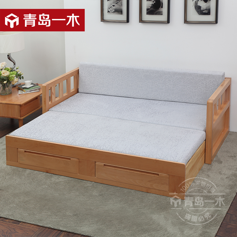 Buy Qingdao A Multifunction Folding Sofa Bed Modern Minimalist Wood Sliding Double Sofa Bed Small Apartment Bed In Cheap Price On Alibaba Com