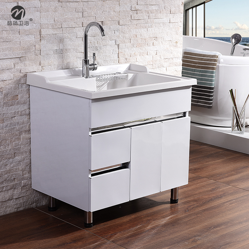 Quartz Stone Balcony Wash Closet With A Washboard Floor Laundry Tub Washing Machine Stainless Steel Bathroom Cabinet Portfolio In