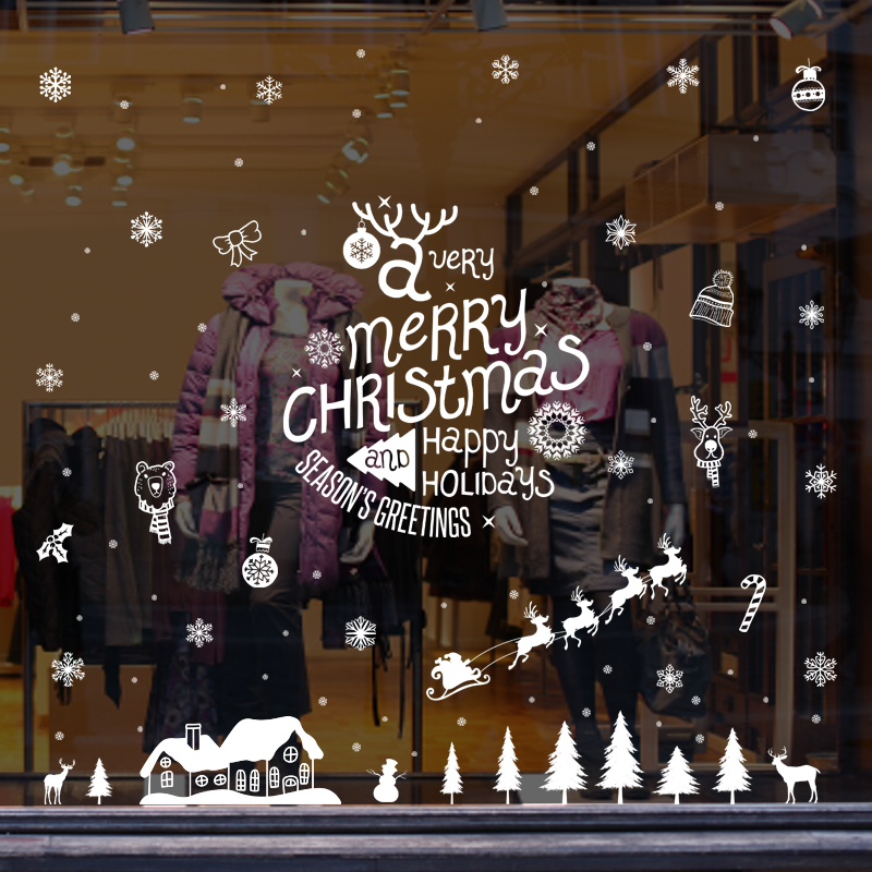 buy restaurant glass wall decals stickers decorative window shopping snowflake christmas snow decoration klimts christmas snow house in cheap price on - Christmas Decals For Glass