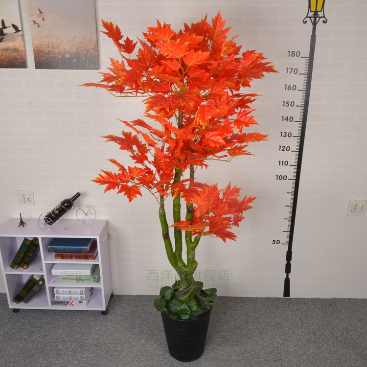 Simulation Red Maple Tree Living Room Decorative Artificial Flowers Fake  Plastic Large Silk Flower Potted Bonsai Plant Floor