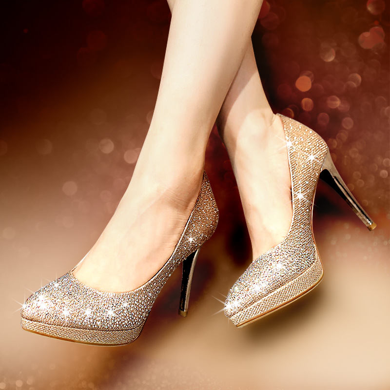 947b4b7d81a1 Buy Spring and autumn new golden wedding shoes bridal shoes rhinestone high  heels pointed fine with shallow mouth waterproof shoes women fashion in  Cheap ...