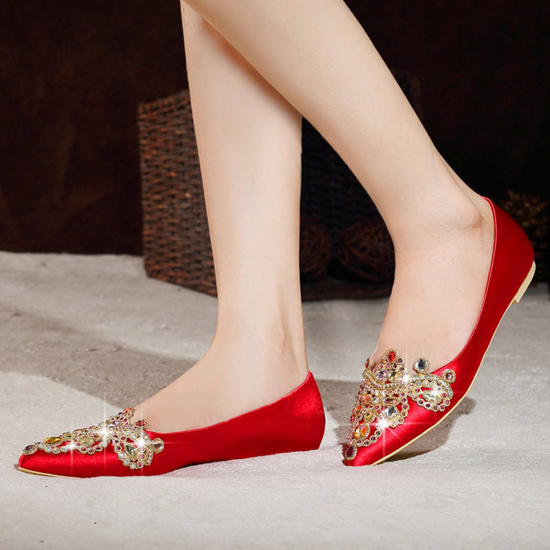 0b9535d3ee0e Spring new satin champagne color red shoes red wedding shoes pointed flat  with big yards flat shoes with rhinestones bridal shoes