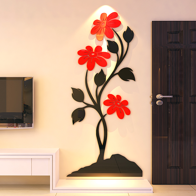 buy stone flower acrylic crystal 3d stereoscopic wall stickers paper
