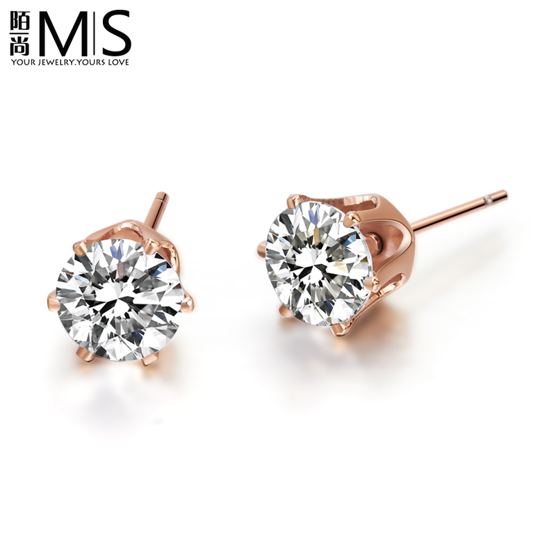 Stranger Still Authentic Six Claw Earrings Single Diamond Stud Female Korean Version Of Anium Steel Rose Gold Plated Color