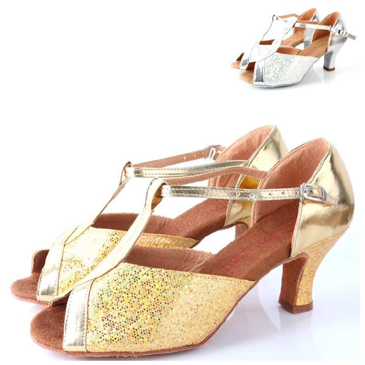 Tina dance gold silver fish head flash chip power with adult women in latin  dance shoes dance practice shoes soft bottom square dance Shoes 5518477600d8