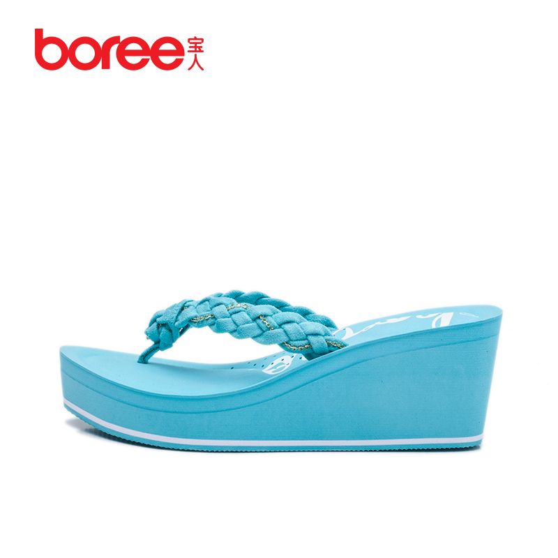 e6839ab25b7786 Buy Treasure summer fashion slip heeled thick crust muffin beach sandals  and slippers tide shoes slope with flip flops woman in Cheap Price on  m.alibaba.com