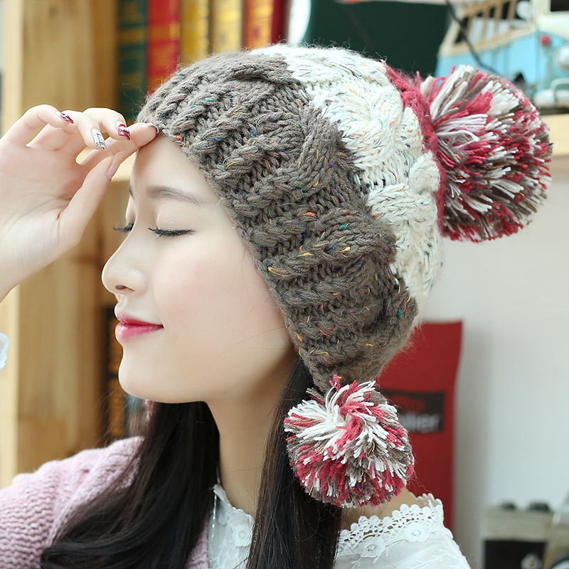 a7579f46f04 Winter hat female korean cute winter wool cap influx of female ear warm  autumn and winter handmade knitted hat female winter hat