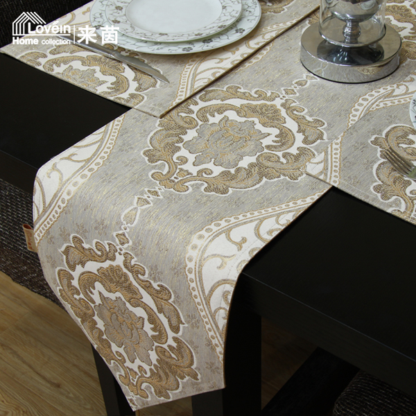 Yin Table Flag To Euclidian Dyed Silk Jacquard Lace