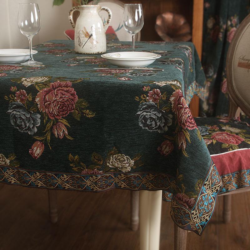 餐桌布布藝美式鄉村厚實雪尼爾檯布復古歐式田園茶几椅套套裝高檔