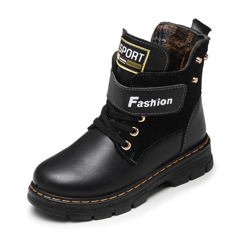 男童真皮加绒马丁靴冬季新款潮高帮皮鞋皮靴英伦风中大童黑色靴子