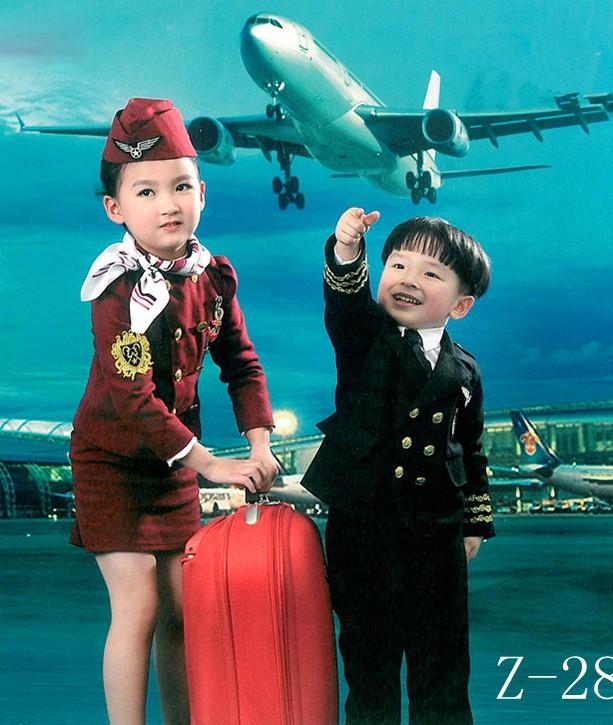 兒童空姐空少演出服男童飛行員制服少兒機長小空姐表演服攝影服裝