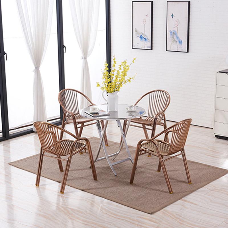 不锈钢铝合金圆桌子可折叠方桌简约户外休闲小户型餐桌家用吃饭桌