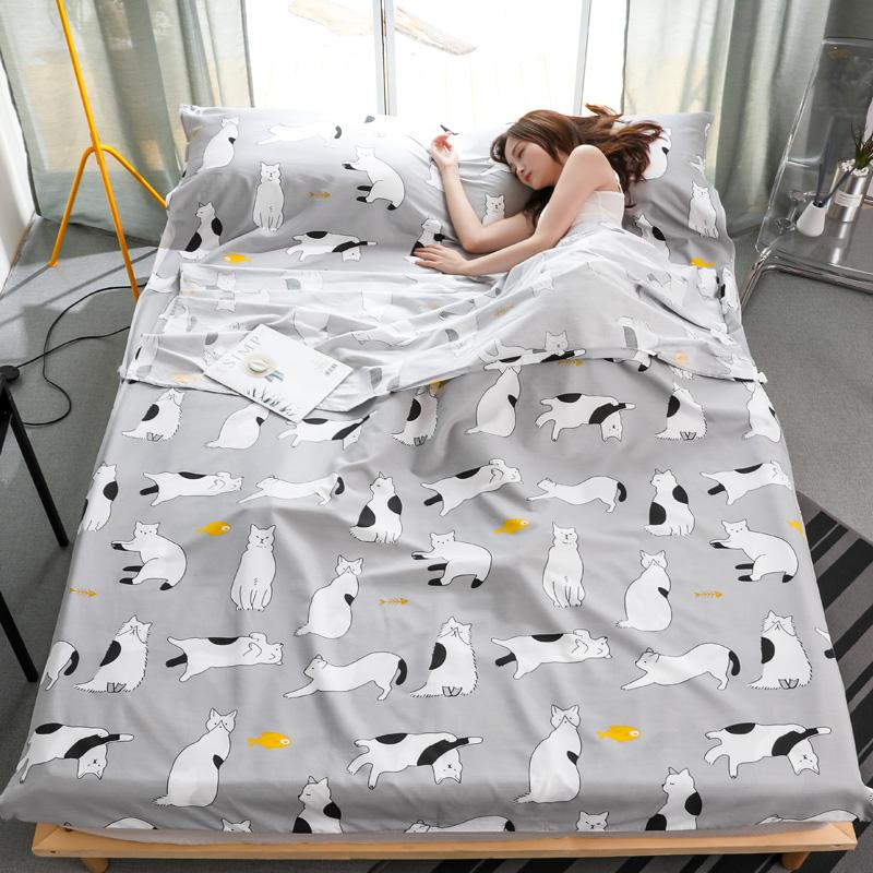 纯棉旅行隔脏睡袋便携式出差单人双人旅游住酒店宾馆防脏床单被套