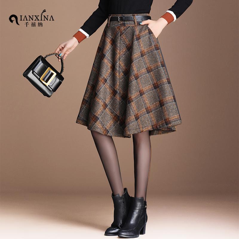 毛呢半身裙女秋冬新款复古格子百褶裙高腰