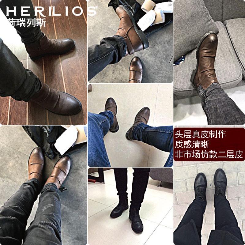 马丁靴靴子男英伦风中帮短靴内增高保暖棉鞋高帮皮鞋加绒真皮男鞋