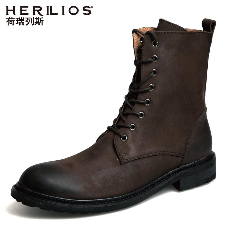 马丁靴靴子男潮英伦男鞋秋季高帮皮靴工装加绒沙漠靴复古真皮军靴
