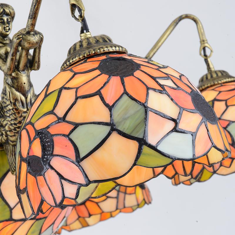 蒂凡尼欧式客厅吸吊灯田园向日葵客厅美人鱼大气高档多头灯饰灯具