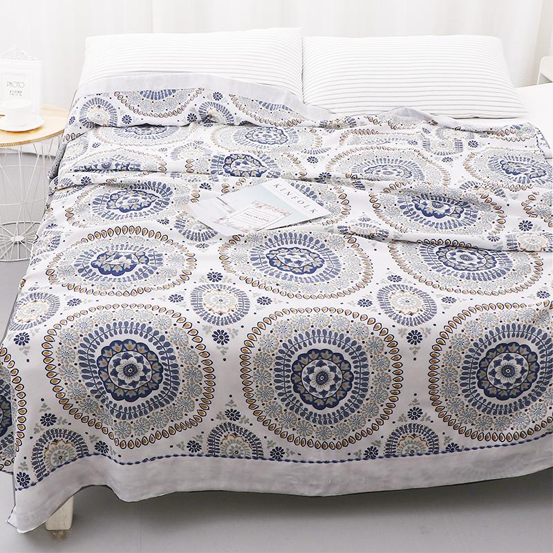新款竹纖維毛巾被 單人夏季休閒蓋毯雙層紗布線毯 舒適透氣夏涼被