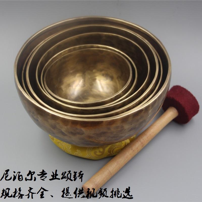 颂钵 尼泊尔手工纯铜SPA理疗音疗钵佛音钵修行铜磬碗瑜伽用品摆件