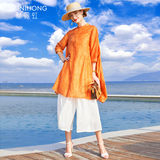 2020 summer new fashion Western style jianling loose shirt and long sections piece wide leg pants suit female ramie