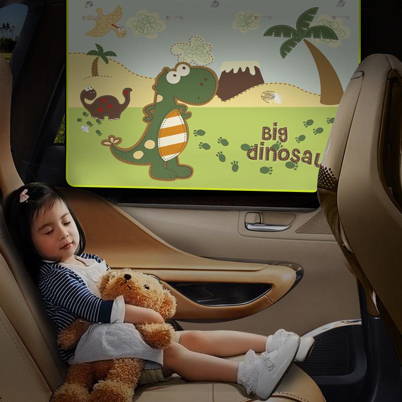 夏季汽车窗帘侧窗遮阳帘车用卡通儿童防晒隔热侧挡自动伸缩遮光布
