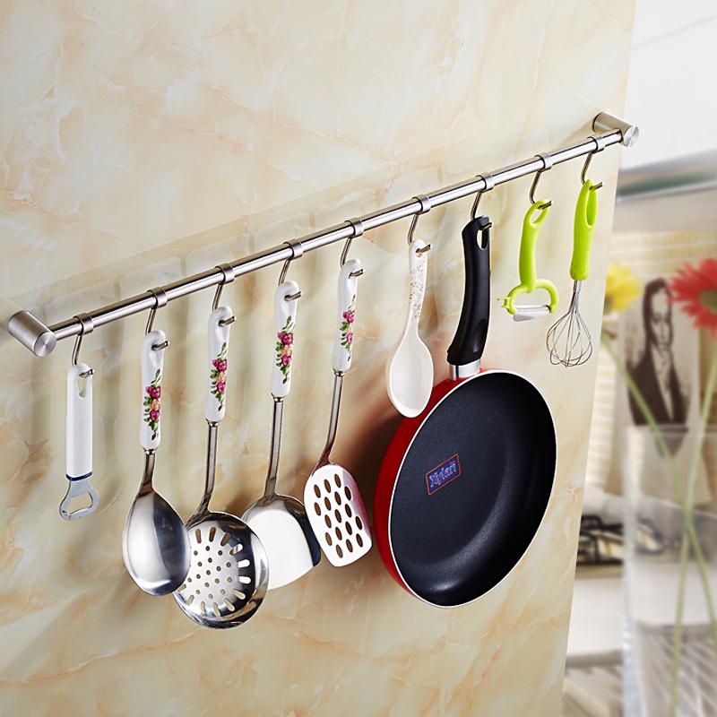 厨房五金304不锈钢厨房挂杆厨房挂件汤勺挂架壁厨房置物架 壁挂