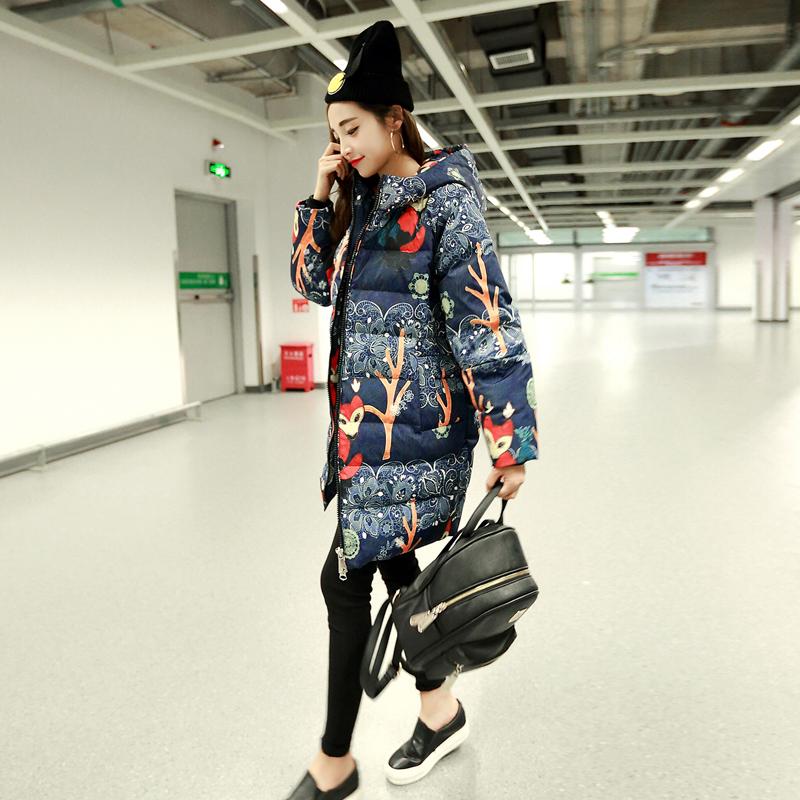 羽绒服女2019冬装新品民族风中长款宽松口袋加厚连帽长袖拉链外套