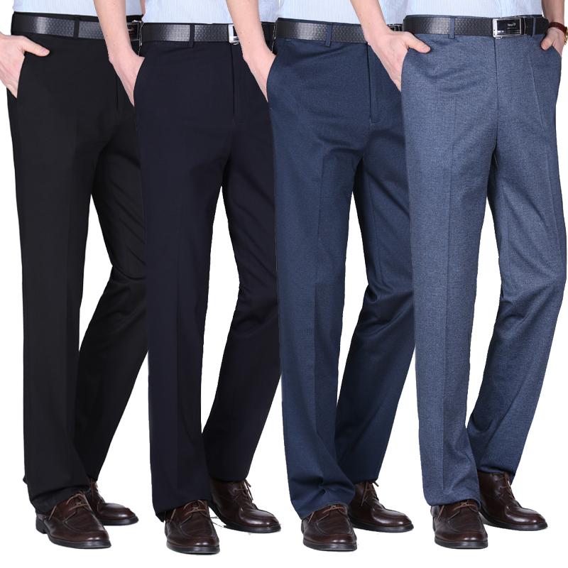 男士弹力西裤男宽松中年冬季厚款高腰商务休闲裤直筒爸爸裤子加厚