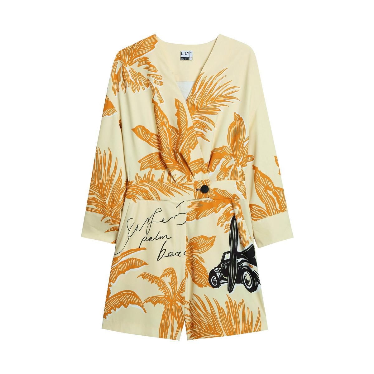 LILY夏季新款女装沙滩度假风印花收腰显瘦V领休闲短裤连体裤