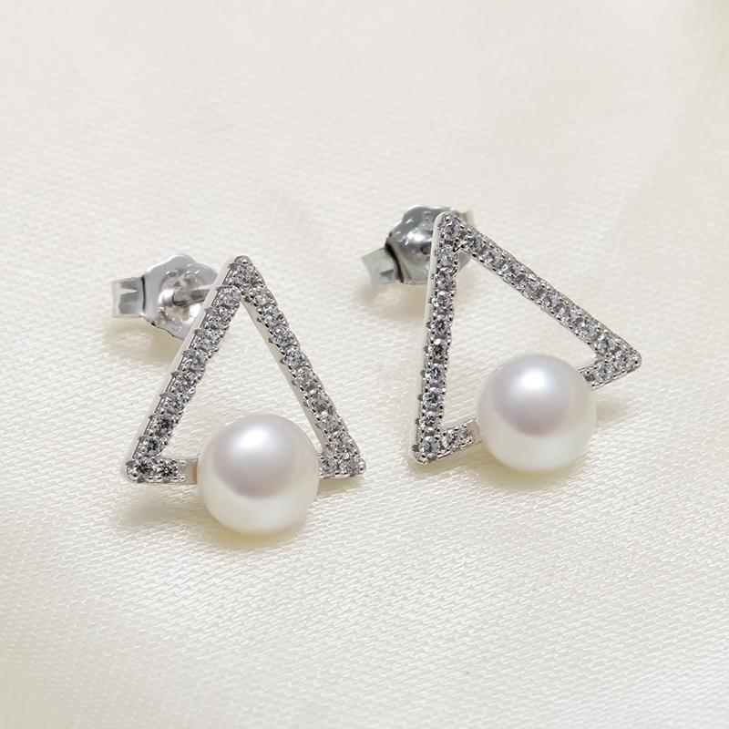 银耳钉淡水珍珠耳环时尚气质甜美耳坠配饰个姓简约 925 海润珍珠