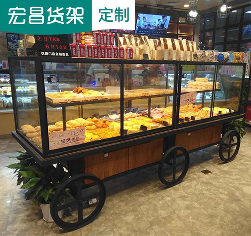 新款铁艺实木面包柜面包展示柜台玻璃货架边岛中岛柜蛋糕模型柜台