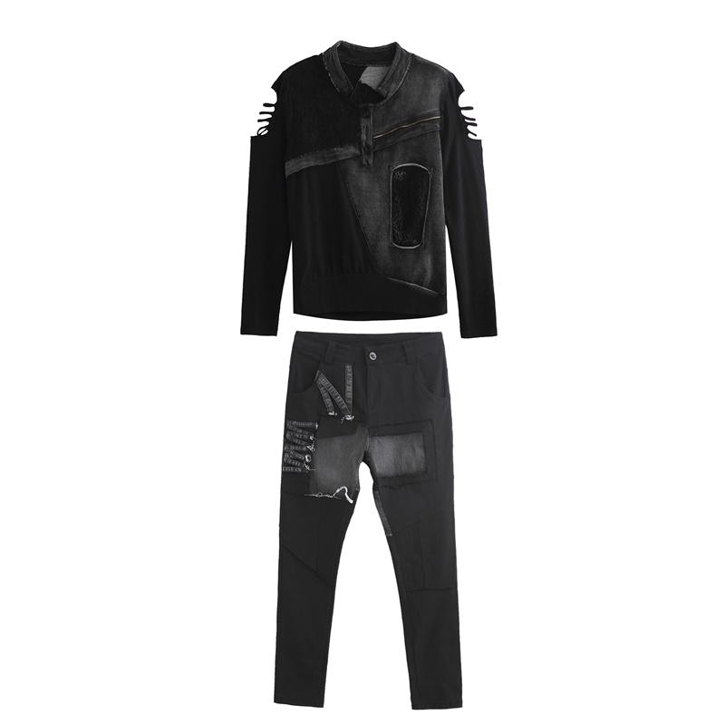 欧美2019春秋新款个性套装两件套洋气女装哈伦裤长袖t恤休闲裤子