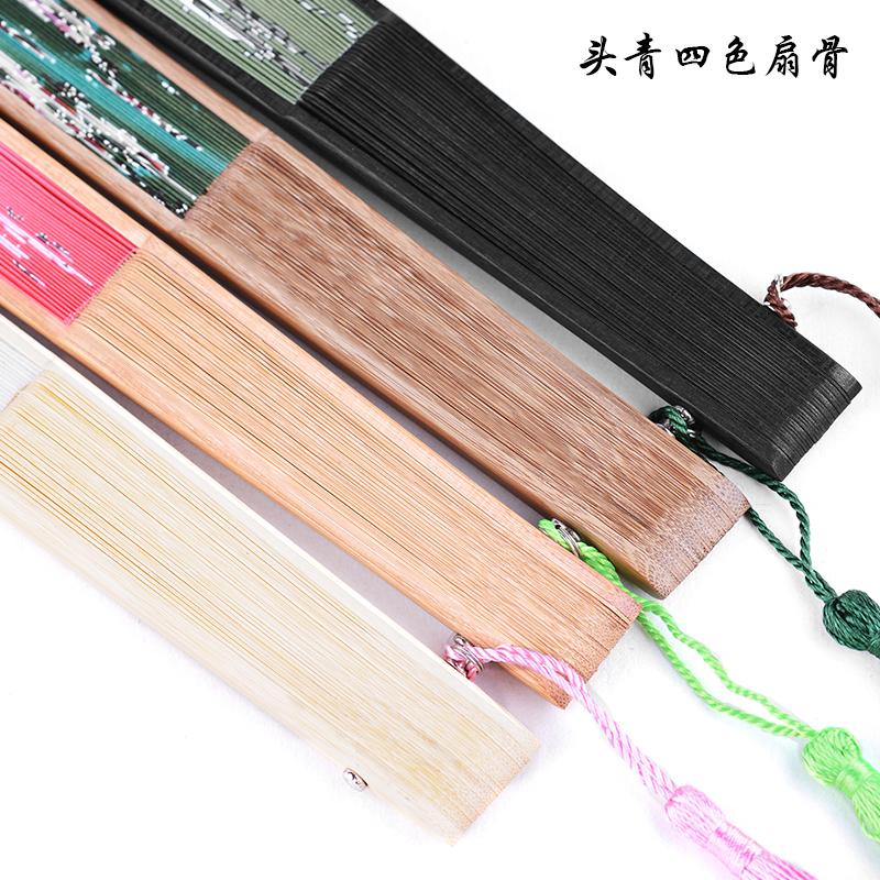 中国风工艺小礼品女夏季日常真丝丝绸折叠竹扇子古风随身便携绢扇