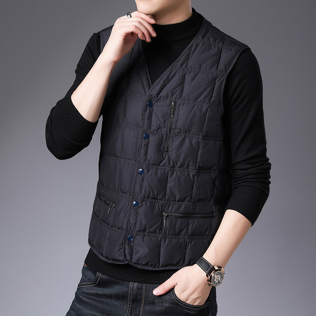 Hengyuanxiang down vest men's leader, old-age, autumn and winter, large size, thin, intrapermid vest, hard, dad