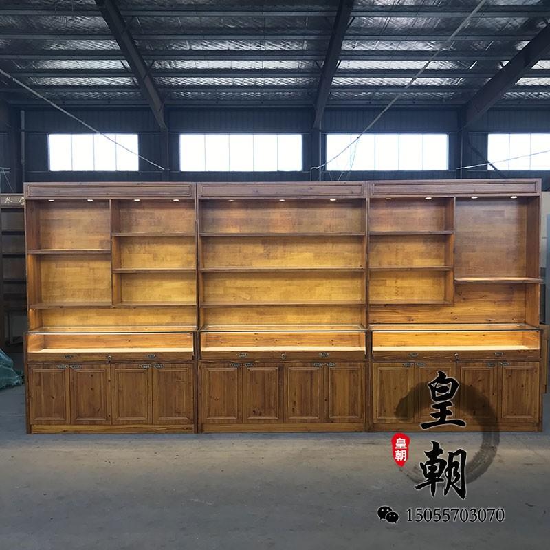 復古展示柜精品展柜陳列柜產品柜懷舊實木烤漆貨架玉石精品展示柜