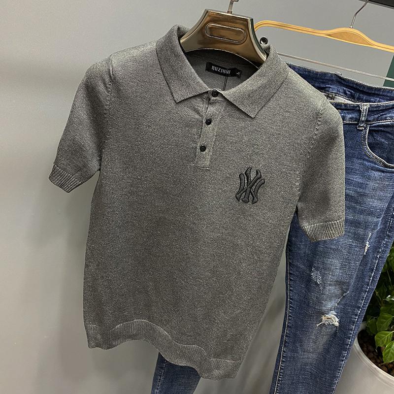恤  衫 polo 针织衫夏季男士冰丝薄款网红刺绣翻领字母短袖毛衣半袖 T