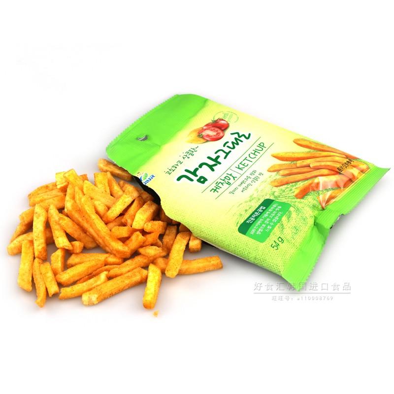 袋装薯条休闲膨化小零食品 54g 好食汇韩国进口九日牌番茄味土豆条
