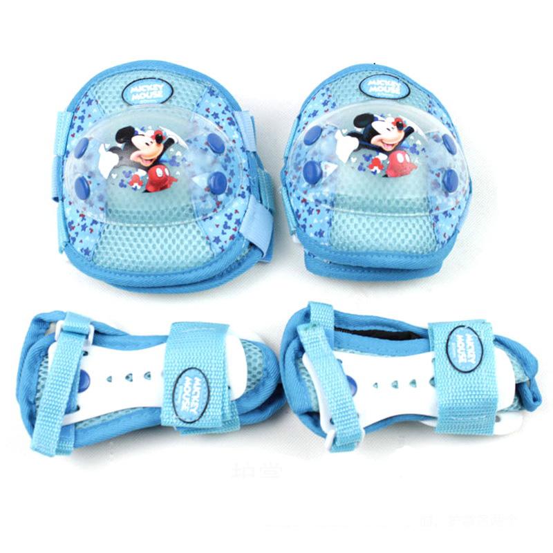 迪士尼米奇公主卡通滑板车溜冰鞋轮滑护具套装凯蒂猫护手护肘护膝