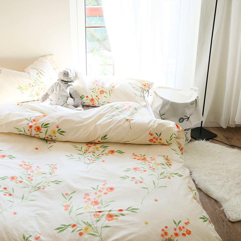 簡約小清新韓式卡通全棉四件套床上用品雙人純棉被套床單床笠床品
